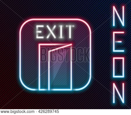 Glowing Neon Line Fire Exit Icon Isolated On Black Background. Fire Emergency Icon. Colorful Outline