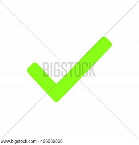 Check Mark Symbol Icon Tick Vector Illustration Choice Vote. Correct Check Mark Approved Green Butto