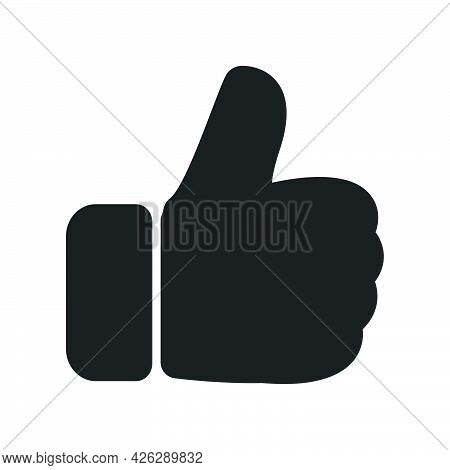 Thumb Up Hand Vector Icon Illustration Success Gesture. Sign Ok Or Like Agreement Thumb Up Communica