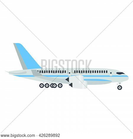Airplane Travel Vector Illustration Flight Aircraft. Air Plane Vehicle Fly Business Jet Aviation Iso
