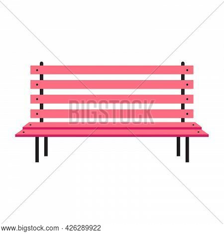 Park Bench Vector Furniture Illustration Wooden City Seat. City Street Icon Park Bench On Brown Colo