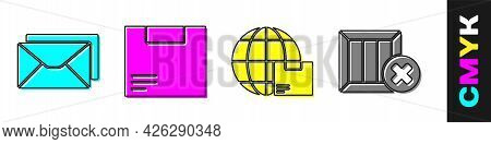 Set Envelope, Carton Cardboard Box, Worldwide Shipping And Box And Wooden Box And Delete Icon. Vecto
