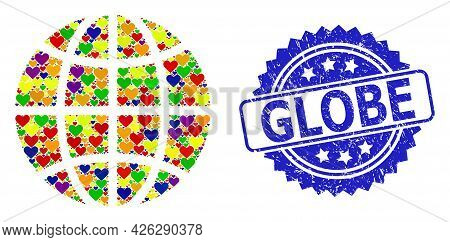 Blue Rosette Grunge Seal Stamp With Globe Text. Vector Mosaic Lgbt Globe With Lovely Hearts. Globe C