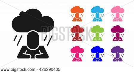 Black Depression And Frustration Icon Isolated On White Background. Man In Depressive State Of Mind.