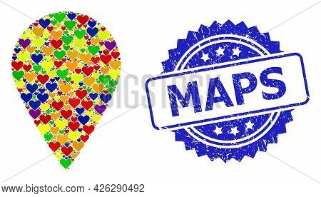 Blue Rosette Rubber Watermark With Maps Title. Vector Mosaic Lgbt Local Place With Love Hearts. Loca