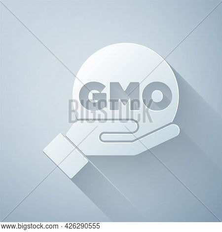Paper Cut Gmo Icon Isolated On Grey Background. Genetically Modified Organism Acronym. Dna Food Modi