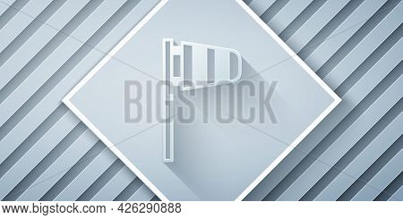 Paper Cut Cone Meteorology Windsock Wind Vane Icon Isolated On Grey Background. Windsock Indicate Th