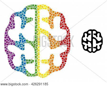 Brain Mosaic Icon Of Round Dots In Different Sizes And Rainbow Colored Color Tones. A Dotted Lgbt-co