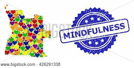Blue Rosette Scratched Seal With Mindfulness Text. Vector Mosaic Lgbt Map Of Angola Of Love Hearts.