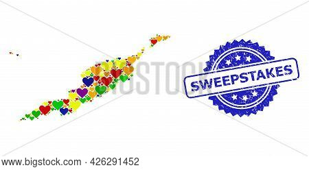 Blue Rosette Grunge Seal With Sweepstakes Message. Vector Mosaic Lgbt Map Of Anguilla Islands With H