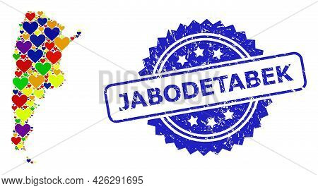 Blue Rosette Rubber Seal Imprint With Jabodetabek Text. Vector Mosaic Lgbt Map Of Argentina Of Love