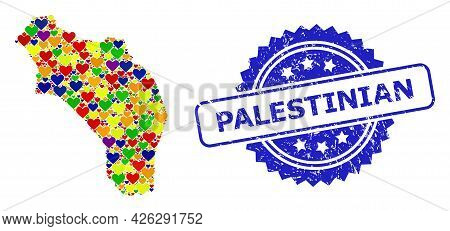 Blue Rosette Grunge Watermark With Palestinian Caption. Vector Mosaic Lgbt Map Of Argentina - La Rio
