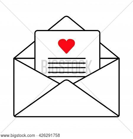 Open Envelope With A Love Letter. Valentine's Day. Declaration Of Love. Vector Hand Drawn Illustrati