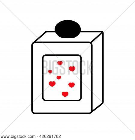 Perfume. Rectangular Bottle. The Scent Of Love. Gift. Valentine's Day. Declaration Of Love. Vector H
