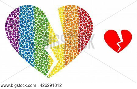 Broken Love Heart Collage Icon Of Round Dots In Variable Sizes And Rainbow Colored Shades. A Dotted