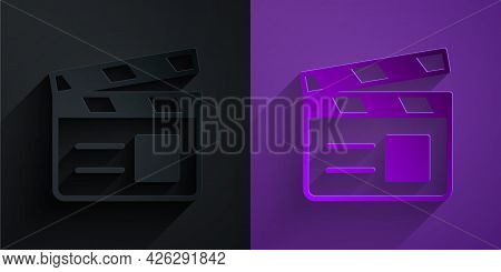 Paper Cut Movie Clapper Icon Isolated On Black On Purple Background. Film Clapper Board. Clapperboar