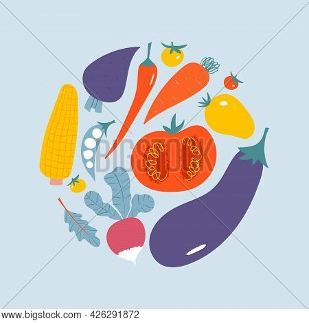 Vegetable Circle Composition. Trendy Flat Hand Drawn Poster With Eggplant, Tomato.