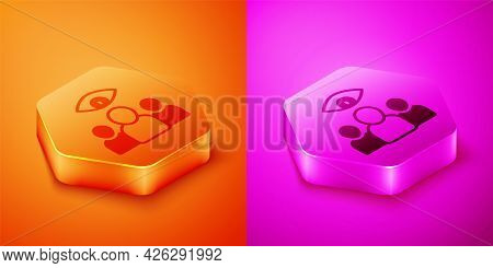 Isometric Spy, Agent Icon Isolated On Orange And Pink Background. Spying On People. Hexagon Button.