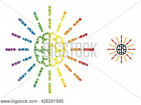 Brain Shine Composition Icon Of Round Dots In Different Sizes And Rainbow Colored Color Hues. A Dott