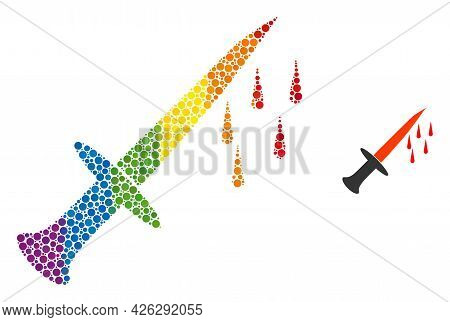 Blood Sword Collage Icon Of Spheric Dots In Variable Sizes And Spectrum Color Hues. A Dotted Lgbt-co