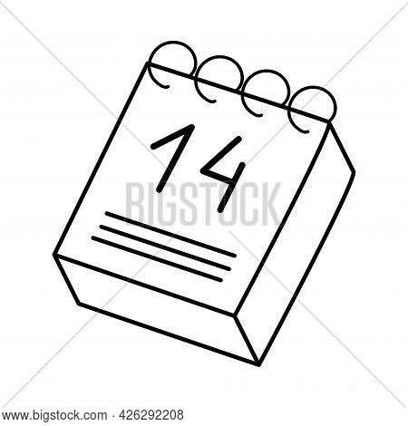 Calendar. 14th Of February. Valentine's Day. Declaration Of Love. Vector Hand Drawn Illustration. Fo