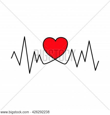 Cardiogram With Heart. Valentine's Day. Declaration Of Love. Vector Hand Drawn Illustration. For Gre