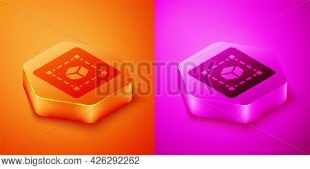 Isometric Geometric Figure Cube Icon Isolated On Orange And Pink Background. Abstract Shape. Geometr
