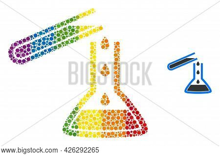 Chemical Liquid Glasses Collage Icon Of Round Dots In Various Sizes And Rainbow Multicolored Color T
