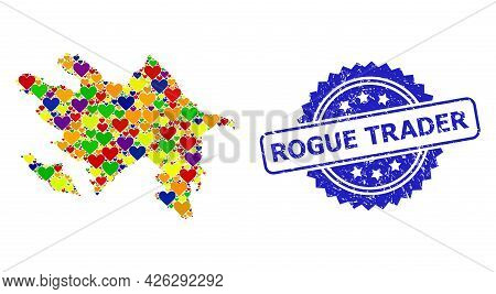 Blue Rosette Distress Seal Imprint With Rogue Trader Text. Vector Mosaic Lgbt Map Of Azerbaijan With