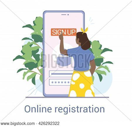 Female Character Signing Up Online. Person Using Smart Phone Device To Register Or Sign Up Online Wi