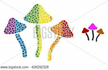 Psychedelic Mushrooms Composition Icon Of Round Items In Various Sizes And Rainbow Colored Shades. A