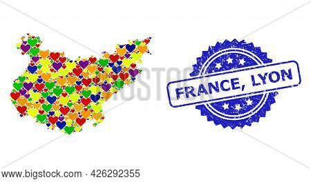 Blue Rosette Textured Seal Stamp With France, Lyon Caption. Vector Mosaic Lgbt Map Of Badajoz Provin