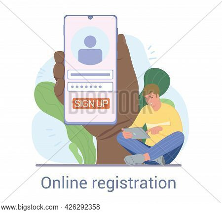 Young Male Character Registering Online. Person Using Digital Smart Phone Device To Register Or Sign
