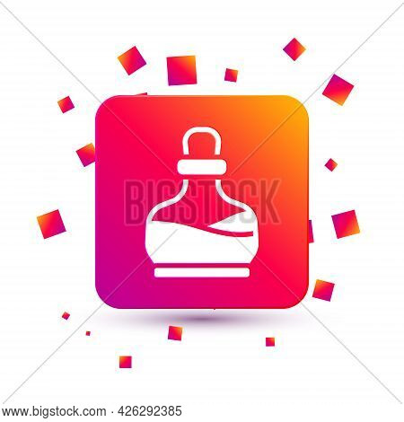 White Bottle With Potion Icon Isolated On White Background. Flask With Magic Potion. Happy Halloween