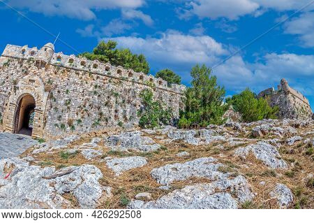 Venetian Fortezza Castle, The Citadel Of The City Of Rethymno In Crete, Greece. Was Built By The Ven