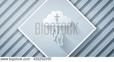 Paper Cut Gods Helping Hand Icon Isolated On Grey Background. Religion, Bible, Christianity Concept.