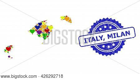 Blue Rosette Grunge Seal Imprint With Italy, Milan Caption. Vector Mosaic Lgbt Map Of Balearic Islan