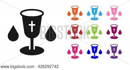 Black Christian Chalice Icon Isolated On White Background. Christianity Icon. Happy Easter. Set Icon