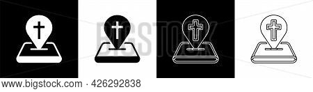 Set Map Pin Church Building Icon Isolated On Black And White Background. Christian Church. Religion