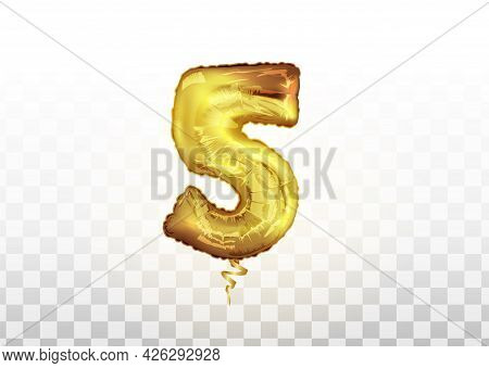 The Golden Number Five Air Balloon For Baby Shower Celebrate Decoration Party. Party Decoration Gold