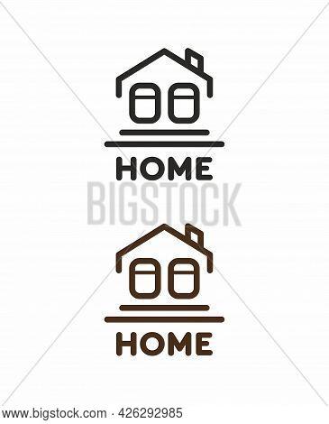 Vector Emblem With A House. Design Element For Real Estate, Renovation, Interior. Logo For Real Esta
