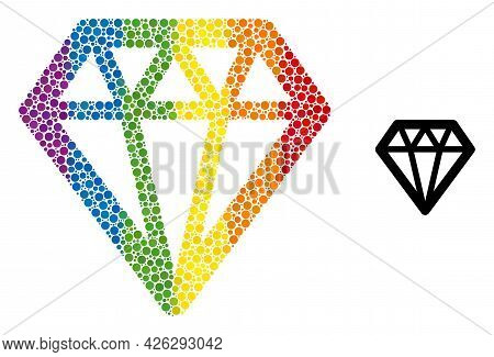 Diamond Composition Icon Of Circle Spots In Various Sizes And Spectrum Colored Color Hues. A Dotted