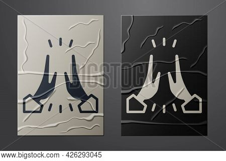 White Informal Greeting Icon Isolated On Crumpled Paper Background. Happy People Giving High Five. P