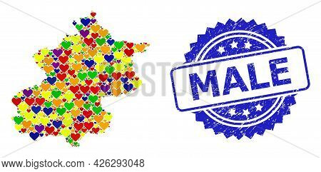 Blue Rosette Rubber Stamp With Male Title. Vector Mosaic Lgbt Map Of Beijing Municipality With Heart