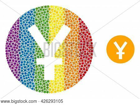 Yuan Coin Collage Icon Of Spheric Dots In Different Sizes And Rainbow Color Tinges. A Dotted Lgbt-co
