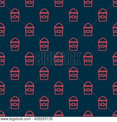 Red Line Popcorn In Cardboard Box Icon Isolated Seamless Pattern On Black Background. Popcorn Bucket