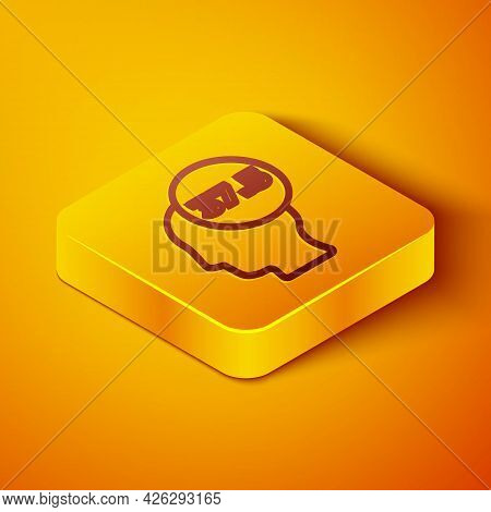 Isometric Line High Human Body Temperature Or Get Fever Icon Isolated On Orange Background. Disease,