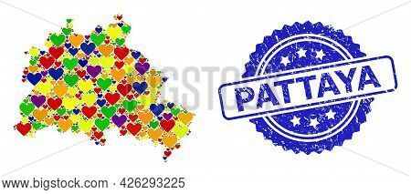 Blue Rosette Rubber Watermark With Pattaya Phrase. Vector Mosaic Lgbt Map Of Berlin City With Hearts