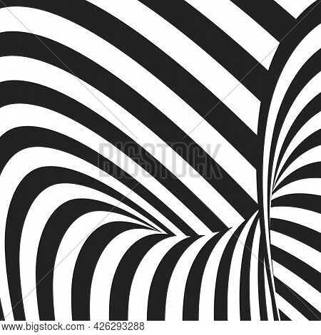 Abstract Black And White Wavy Stripes. Optical Illusion Effect. Hypnotic Art Background.