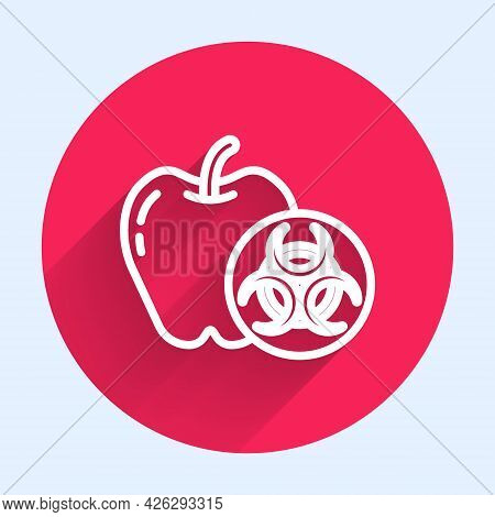 White Line Genetically Modified Apple Icon Isolated With Long Shadow. Gmo Fruit. Red Circle Button.